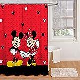 Bfrdollf Duschvorhang 120x200 180x200180x180 200x240 Disney Textil Mickey Mouse Bunt Pink Blau,3D-Druck 100prozent Polyester,Shower CurtainsWasserdicht (120 x 200 cm,30)