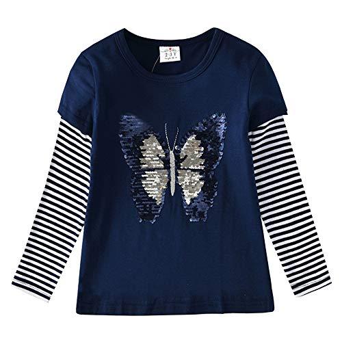 VIKITA Manga Larga Algodón Camisetas T-Shirt Niñas L5760 6T