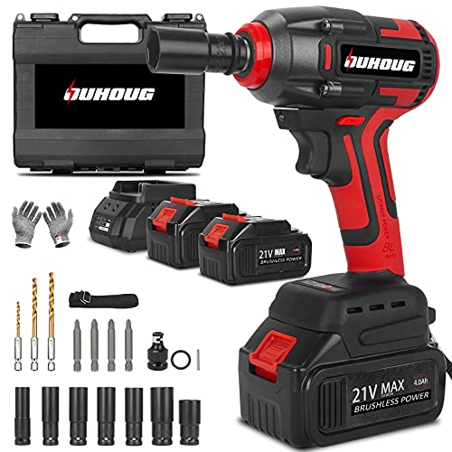 Cordless Impact Wrench, 21V Power Impact Wrenches, 1/2'' Impact Wrench Chuck with 3200RPM Variable Speed and Drill/Screws , Torque 300 ft-lbs/400N.m, 2 x 4.0AH Battery Pack, Safety Lock Design