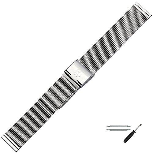 MARBURGER Uhrenarmband 18mm Edelstahl Silber - Werkzeug Montage Set 84904180020