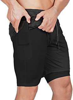 BOOMLEMON Men's 2-in-1 Workout Quick-Dry Shorts Gym Running Training Short Pants with Pockets