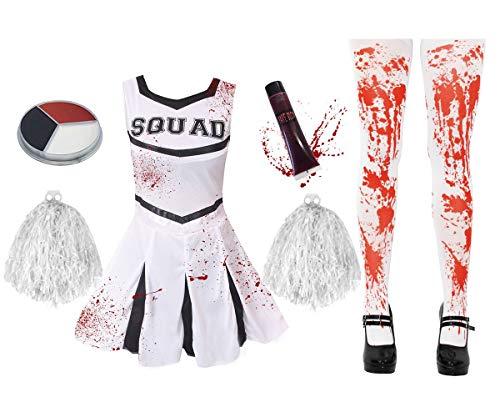 ILOVEFANCYDRESS Disfraz DE Cheerleader O Animadora Muerta Zombi con Medias SANGRIENTAS Y PONPONS Blancos para Adultos Conjunto Halloween (M)