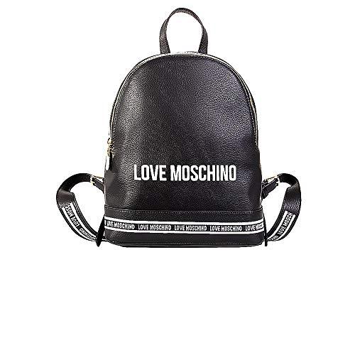 Love Moschino Zaino in Pelle Grain Mix Colore Colore Nero con Zip JC4057PP