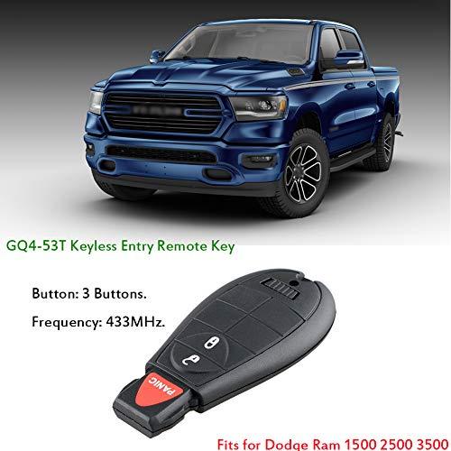 GQ4-53T 4 toetsen Keyless Entry Remote Key Fob, vervangen # 56046955,56046955AG, 56046955AA, 56046955AB, geschikt voor 2013-2018 Dodge Ram 1500 2500 3500