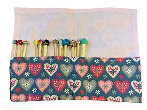 Juego de 12 ganchos de ganchillo, incluye ganchos, funda, cojín de alfiler de muñeca, 5 clips de ganchillo (corazones)