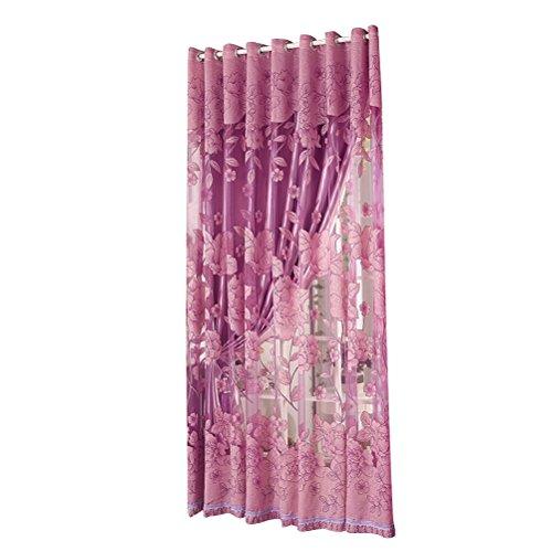 WINOMO Tenda Camera da Letto Tende Tulle Voile ed oscuranti Floreali con Occhielli 270x 87 cm in Viola