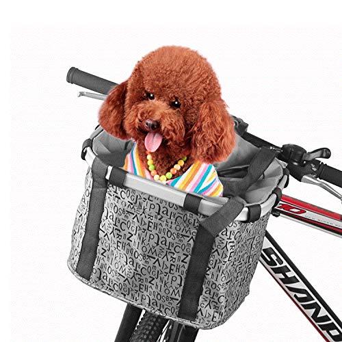 FitTrek Cesta Bicicleta Frontal Desmontable - Cesta de Lona de Bici - Bolso de Bici del Marco de la Aleación de Aluminiopara Mascotas Perros Gatos, Picnic, Compras