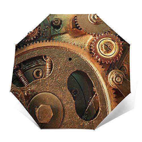 TISAGUER Paraguas automático de Apertura/Cierre,Engranaje de máquina Antigua Retro,Paraguas pequeño Plegable a Prueba de Viento