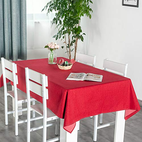 YOUYUANF Nappe rectangulaire plastiqueen napperonNappe étanche Coton et Lin Nappe rectangulaire Table à Manger antifouling Jardin pique-nique130 x 130 cm