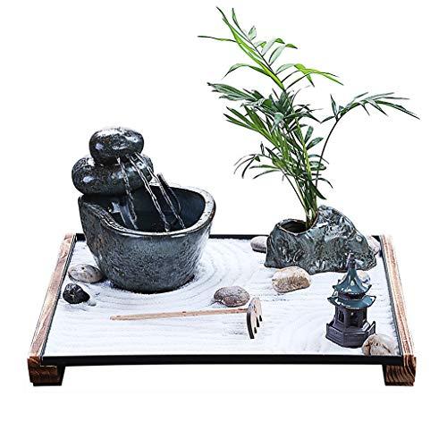 Fuente de Interior Fuentes de interior Cerámica Tabletop Fountain Humidificador Agua Pavilion Pavilion Paisaje Feng Shui Desktop Fountain Decoración de Porche Decoración del hogar Fuentes de interior