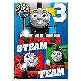 Biglietto di auguri per il 3° compleanno di Thomas & Friends (WW-TH021) – 3 anni – Team Steam – Biglietto di auguri e distintivo per lui/per lei
