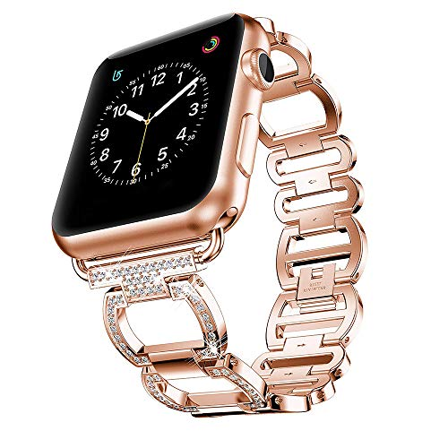 Pulsera Compatible para Apple Watch Correa 44mm 42mm 40mm 38mm Mujer Apple Watch Banda Cristal Diamante reemplazo Apple Watch SE Serie 6/5/4/3/2/1 (For 38 and 40mm,Rose Gold)
