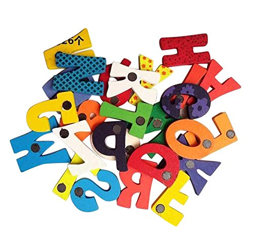 Hisoul Child Educational Toys - 26Pcs Wooden Cartoon Alphabet A-Z Fridge Magnet Educational Toy for Kid Baby Best Educational Gifts (A)