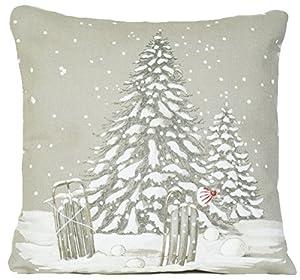 Weihnachtsbaum Kissenhüllen Muster Winter Wunderland Kissenbezug Grau Zierkissen 35 x 35cm