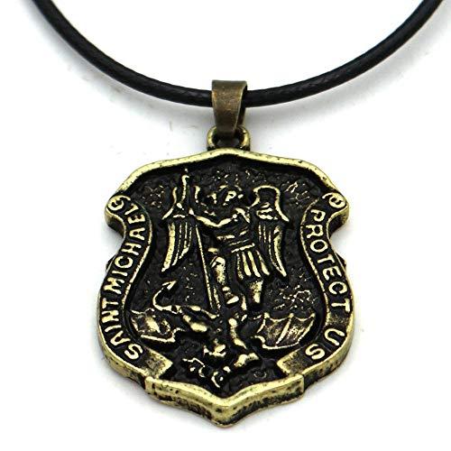 Nostalgie Erzengel Saint Michael Slay Drachenschild Beschütze Uns Amulett Talisman Gebetsmedaille Halskette Kettenlänge 60Cm