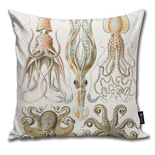 Funda de almohada cuadrada de 45,7 x 45,7 cm, diseño de pulpo vintage, con cremallera, para decoración del hogar