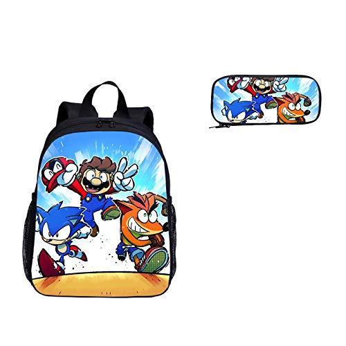 Juego de 2 bolsas de dibujos animados para guardería, diseño de Super Mario Vs Sonic The Hedgehog Print mochila escolar para niños y niñas