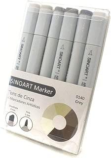 Marcador Artístico 06 Tons, Sinoart, Marker, Cinza, Pacote de 1
