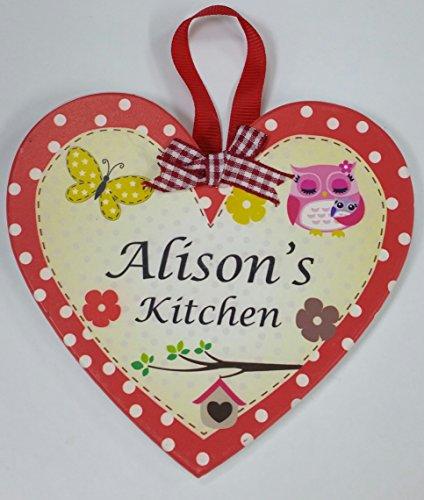 Alison nommé personnalisé en forme de cœur Kitchen Plaque magnétique par Sterling effectz