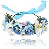 AWAYTR Damen Mädchen Blume Stirnbänder Krone - Handarbeit Blume Haarkranz Girlande mit Schleife für Festival Hochzeitsfeie (Blau + Weiß)
