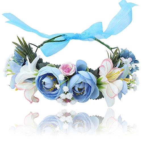 Damen Mädchen Blume Stirnbänder Krone - Handarbeit Blume Haarkranz Girlande mit Schleife für Festival Hochzeitsfeie (Blau + Weiß)