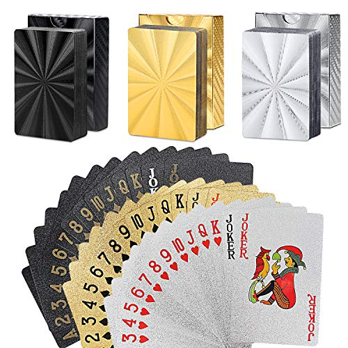 Check Out This GORCHEN Playing Cards Standard Waterproof Plastic Foil Poker Cards Set Gold Silver Bl...