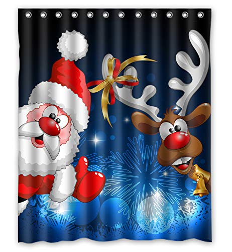ZHANZZK Merry Christmas Santa Claus Deer Pattern Bathroom Shower Curtain 60x72 Inches