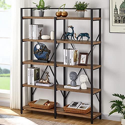 FATORRI Industrial Bookshelf 5 Tier, Rustic Wood Etagere...