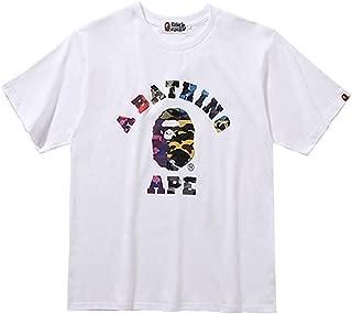 Summer Bape Color Ape Avatar Letter Printed Cotton Round Neck T-Shirt Men's/Women's