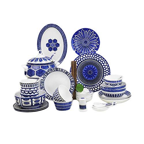 ASYCAN Juego de vajillas de 56 Piezas Hueso de cerámica China Luxury Jingdezhen vajilla Platos de vajilla Conjunto con Platos Cuencos Sopa de Sopa Poticiadores Servicio for 10
