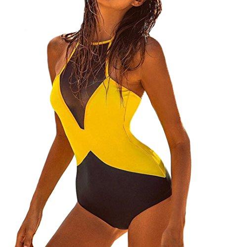 DELEY Mujeres Cuello Alto Encaje Halter Una Sola Pieza Traje De Baño Bikini Monokini Trikini Swimsuit Amarillo Tamaño S