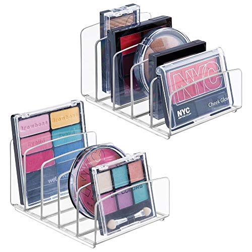 mDesign organiseur maquillage (lot de 2) – boîte de rangement maquillage avec cinq compartiments pour produits de maquillage, vernis à ongles et produits de beauté – rangement make-up – transparent