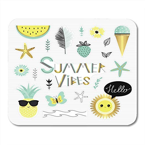 Mouse Pads Shine Hello Summer Vibes of Cartoon Badges Cute Stickers Patch Pin Sun Sea Morning Beach Mouse Pad for Notebooks,Desktop Computers Mouse Mats, Office Supplies