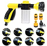 XEMZ Boquilla pulverizadora de manguera de jardín, 8 patrones ajustables pistola pulverizadora de agua de espuma herramienta de jardinería para regar el césped lavado de coche ducha de mascotas