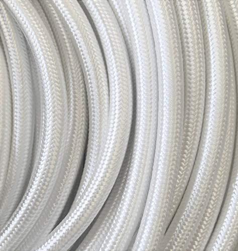 Kopp Meter Textil-Leitung 3 adrig H03 VV-F 3 x 0,75 mm², Länge 2 m, Stoff-Kabel für Lampe, 250V, weiß, 151502082