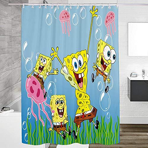 Duschvorhangs Spongebob Badewanne Duschvorhang 100prozent Polyester Beschwertem Saum Anti Schimmel Wasserdicht Waschbar Mit 12 Haken100 X 180 cm