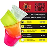 150 Pack Disposable Jager Bomb Cups. Measure Two Part Bomber Shot Glasses for Great Taste Every Time! Throw a Great Party with Recipe Card & 4 Colors to Impress Guests!
