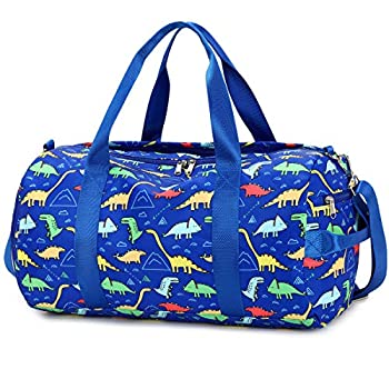 CAMTOP Kids Overnight Duffel Bag for Boys and Girls Weekender Carry-On Size Tote for Travel Gym Sport  Dinosaur-Dark Blue