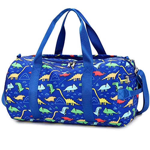 CAMTOP Kids Overnight Duffel Bag for Boys and Girls Weekender Carry-On Size Tote for Travel Gym Sport (Dinosaur-Dark Blue)
