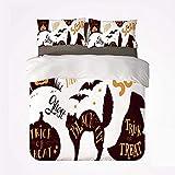 Zozun Juego de Funda nórdica Vintage Halloween Soft Juego de Cama de 3 Piezas, símbolos de Halloween Trick or Treat Bat Tombstone Ghost Candy Scary Decorativo para Dormitorio