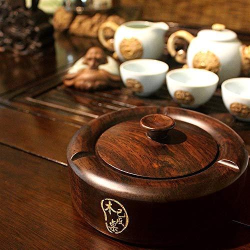 LHQ-HQ Chińska popielniczka z litego drewna, popielniczka mahoń, heban, popielniczka, drewniana popielniczka