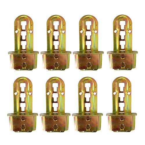 LIKERAINY Bettverbinder Bettbeschlag Bett-Winkel zum Einhängen Einhängebeschlag 4 Raststufen Höhenverstellbar für Mittelbalken und Lattenrost Halterung Metall Gelb Chromatiert 8er Set