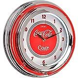 Reloj redondo luminoso doble neón Coca-Cola rojo y blanco acabado cromado y crista the Coca-Cola Coke