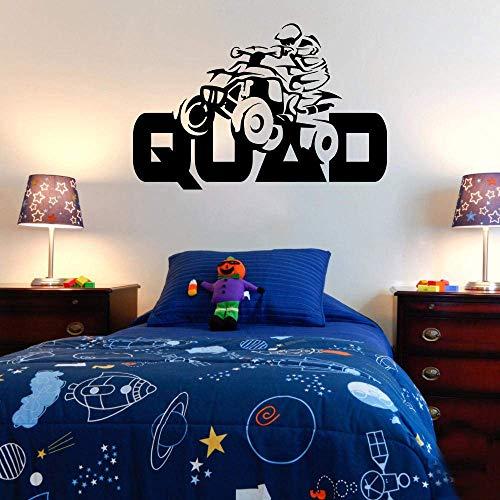 Vierrädriges Motorrad Extremsport Vierrädriges Motorrad Racing Wandtattoos Vinyl Wandaufkleber Wohnzimmer Schlafzimmer Dekoration Wandbild 87X57Cm