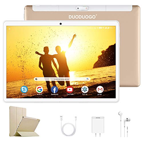 4G Tablet 10.1 Pulgadas Android 9.0 Quad Core 3GB RAM 32GB ROM/Escalable a 128 GB DUODUOGO G10 Tableta 4G Batería 8500mAh Bluetooth WiFi GPS Tablet PC Doble SIM/Cámara 8MP y 5MP (Oro)