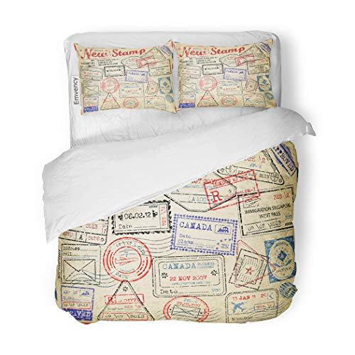 SanChic Duvet Cover Set Retro New Post Stamp Passport Visa Travel Mail Decorative Bedding Set with 2 Pillow Cases Full/Queen Size