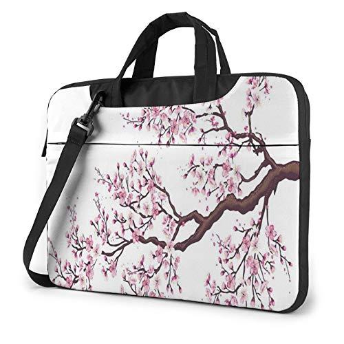 Laptop Shoulder Bag - Cherry Blossoms Tree Printed Shockproof Waterproof Laptop Shoulder Backpack Bag Briefcase 14 Inch