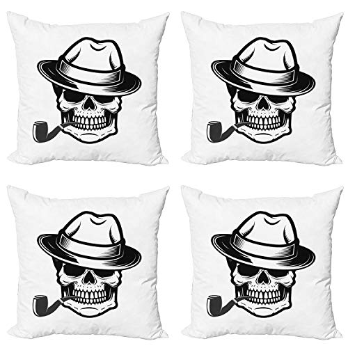 Ambesonne Skull Smoking Decorative Throw Pillow Case Pack of 4, Human Skeleton Head Depicted as Gentleman Wearing a Fedora Hat, Cushion Cover for Couch Living Room Car, 24', White and Charcoal Grey