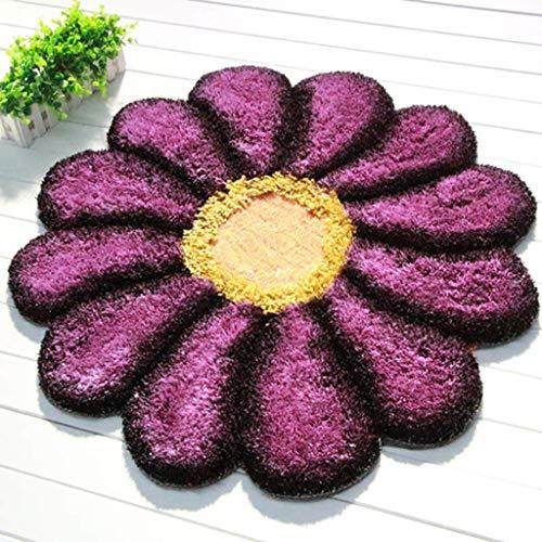 FEI 3D Sun Flower Doux Tapis Soyeux Chambre Chevet Ordinateur Chaise Chaise pivotante Panier Coussin,Diamètre 100cm,Violet