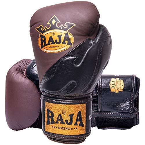 RAJA Boxhandschuhe, RJB-S4 Deluxe, Leder, braun-schw Größe 12 Oz